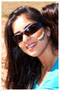 Anamika with the Indian Flag on cheek.